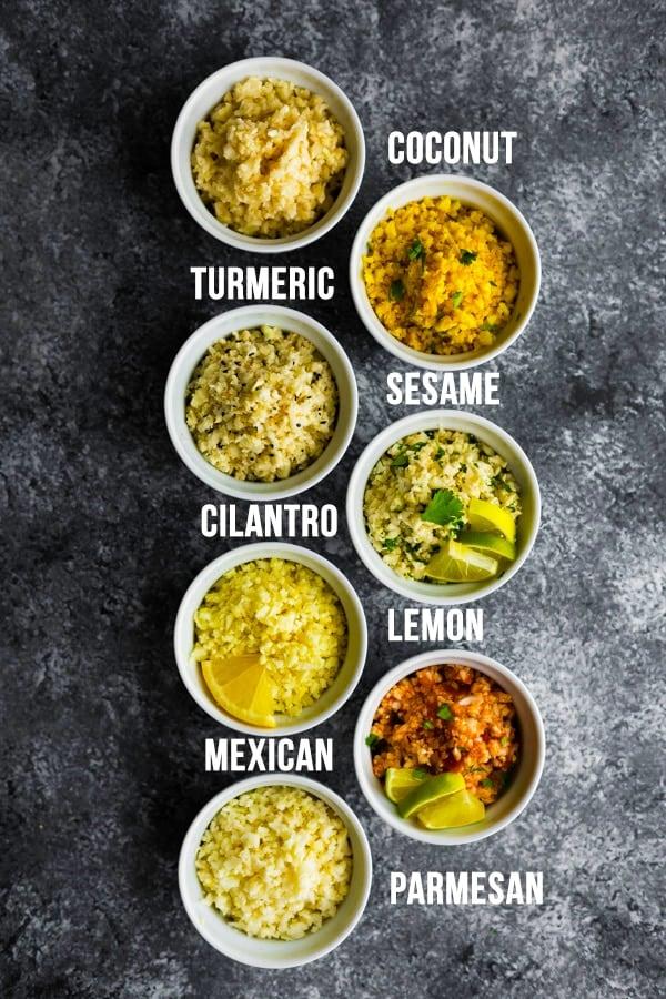 overhead shot of seven cauliflower rice recipes