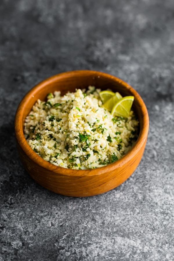 Cilantro lime cauliflower rice in brown bowl