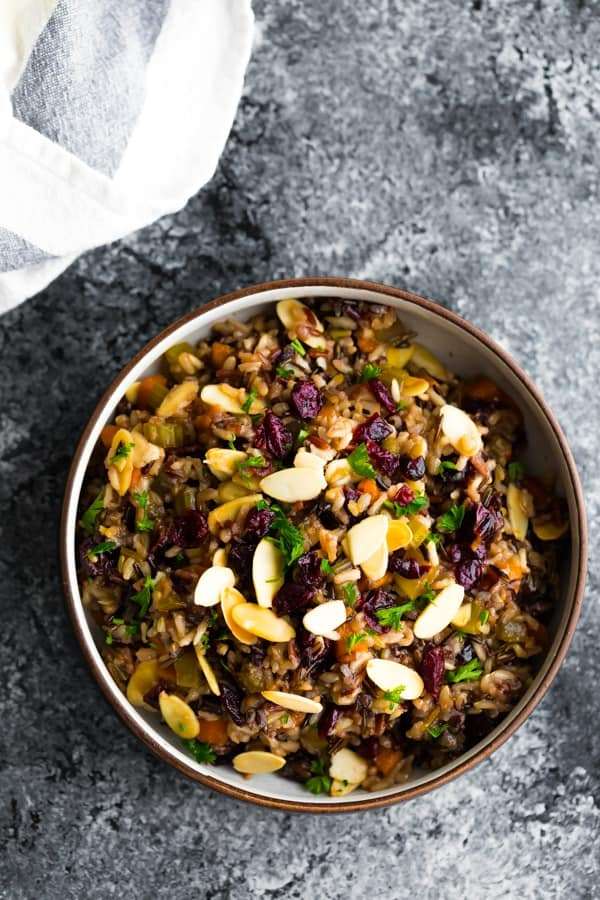 cranberry almond rice pilaf recipe in a bowl