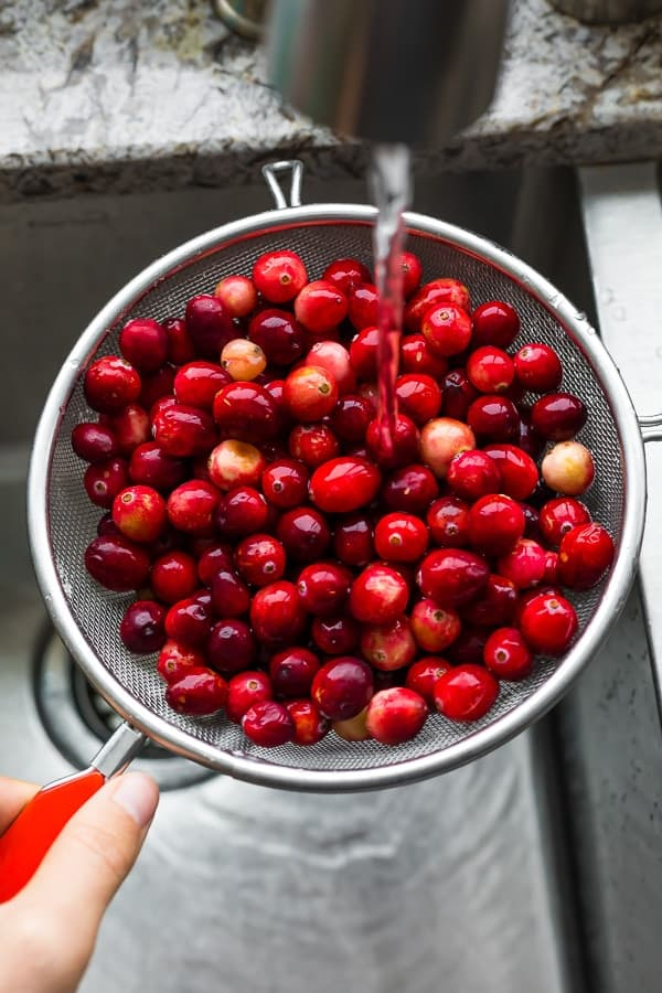 how to make cranberry sauce step one- rinse cranberries