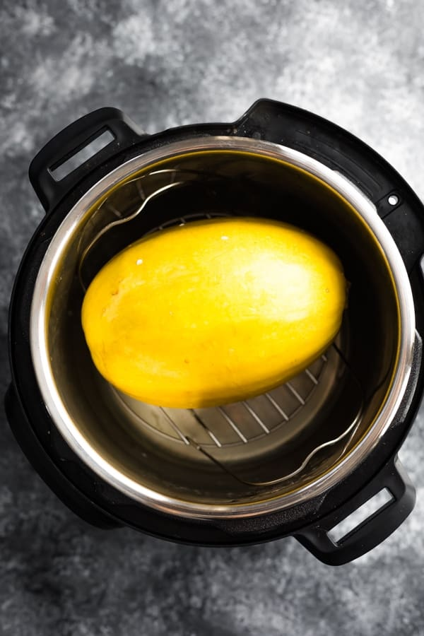 Instant Pot spaghetti squash after cooking (in the instant pot still)