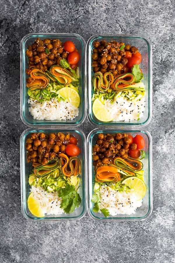 Korean BBQ Chickpea Bento Bowls in meal prep containers