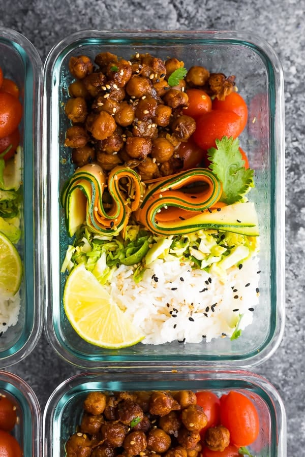 Korean BBQ Chickpea Bento Bowls in meal prep container