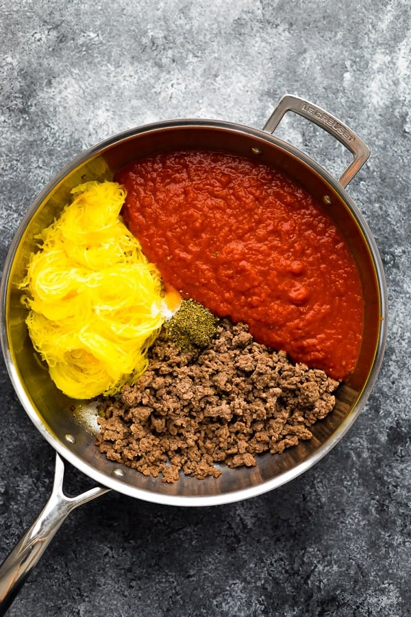 ingredients for low carb skillet lasagna sitting in pan