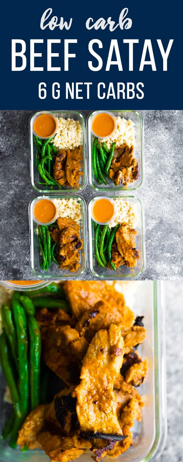Low carb satay beef meal prep has a creamy Thai peanut sauce that serves as a marinade for the beef and a dipping sauce. Serve with cauliflower rice and green beans for four lunches. #sweetpeasandsaffron #mealprep #keto #lowcarb #beef