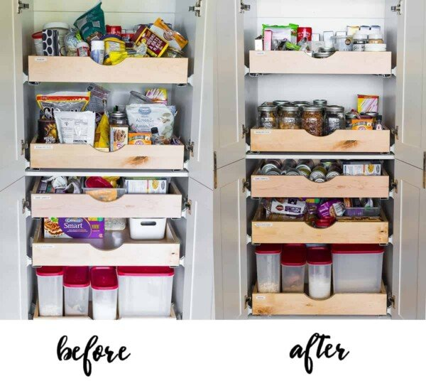 before and after how to organize a pantry