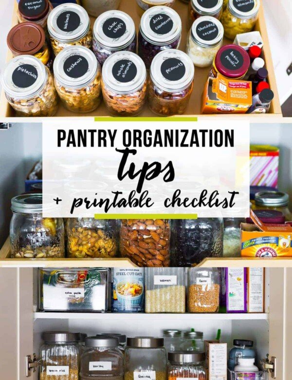 picture of a pantry with text overlay saying pantry organization tips printable checklist