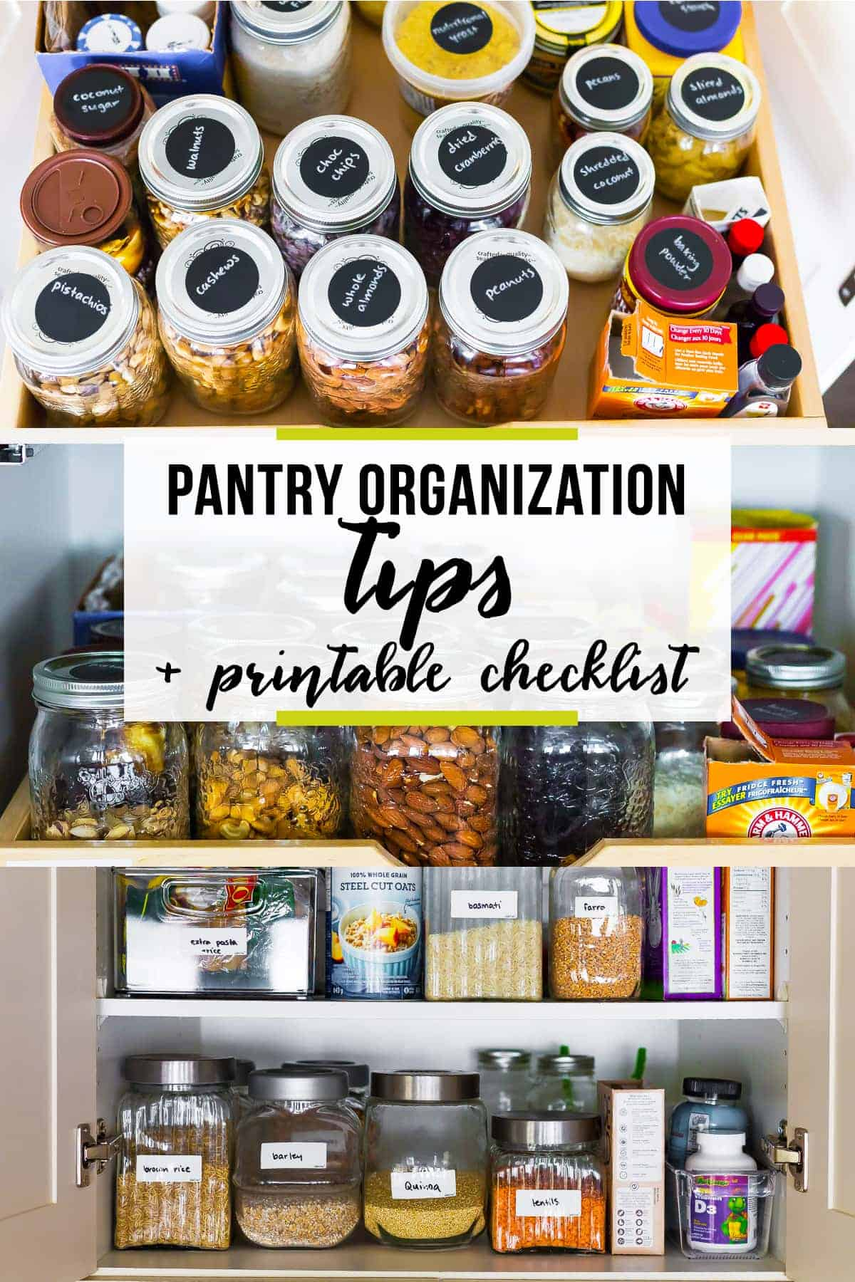 After detoxing my pantry, I'm sharing all my pantry organizing ideas with you, including a printable checklist that you can work through. #sweetpeasandsaffron #organization #pantry