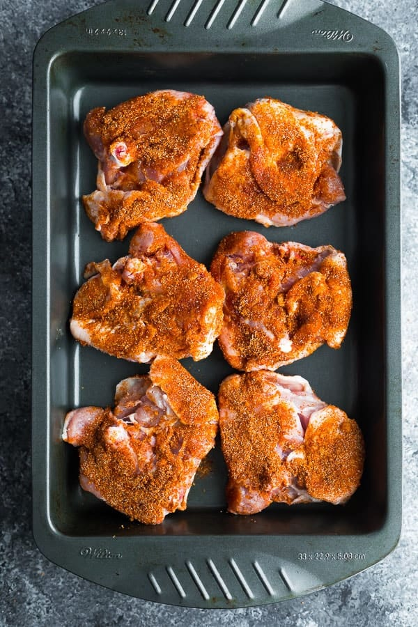 oven baked chicken thighs in baking dish skin side down
