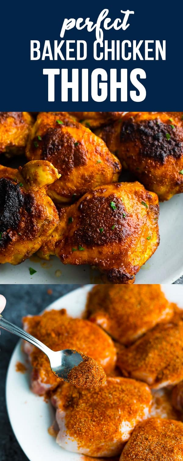 PERFECT baked chicken thighs that are juicy, with crispy skin and the most delicious spice rub. Find out the best way to bake them! #sweetpeasandsaffron #mealprep #chicken #chickenthighs