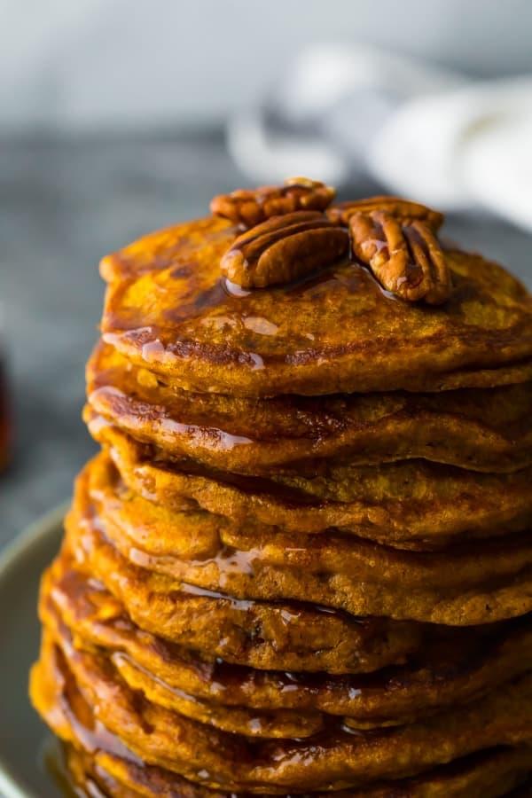 close up shot of the pumpkin pancakes recipe