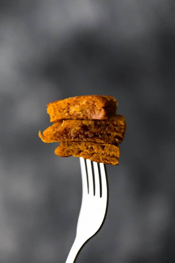 healthy pumpkin pancakes on a fork