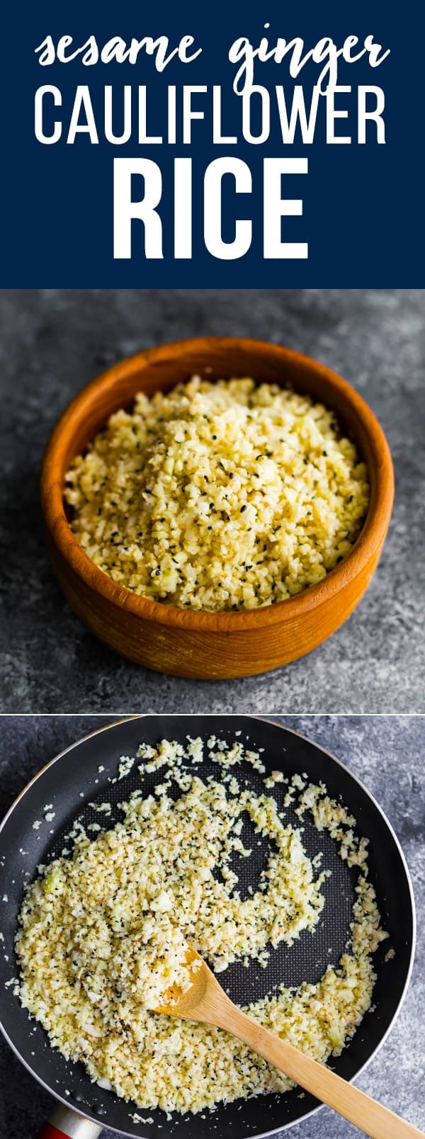 Sesame ginger cauliflower rice is a simple way to add extra flavor to your cauliflower rice! Perfect for an easy low carb side dish.