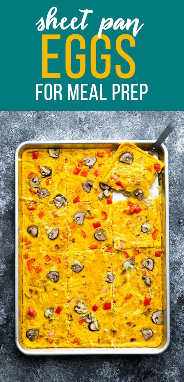 Sheet pan eggs are a big batch breakfast recipe that is perfect for serving a crowd, or batch prepping breakfasts on Meal Prep Sunday! #sponsored #sweetpeasandsaffron #mealprep #eggs #sheetpan