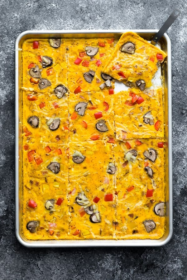 sheet pan eggs, overhead view