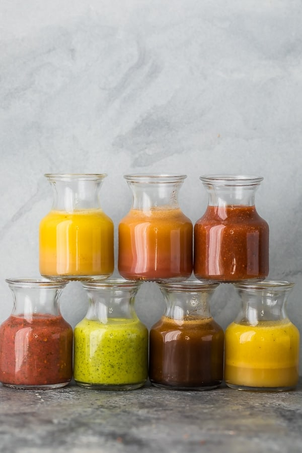 7 vinaigrette recipes in jars stacked