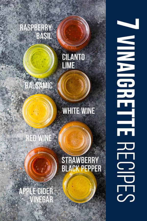 7 basic vinaigrette recipes that will add so much flavor to your salads! These areready in under 5 minutes and are so much tastier than the store-bought stuff! #sweetpeasandsaffron #salad #vinaigrette #dressing