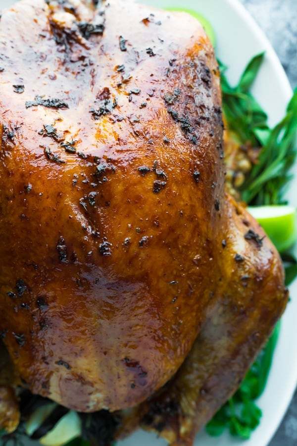 close up shot of finished roasted turkey with dry brine and garlic sage butter