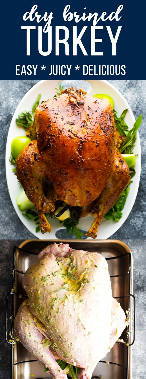 Dry brined turkey with garlic sage butter is juicy and delicious! Using a dry brine is so much easier than a wet brine, and gives this turkey so much flavor. #sweetpeasandsaffron #thanksgiving #turkey #glutenfree #makeahead #brine #christmas #holidays