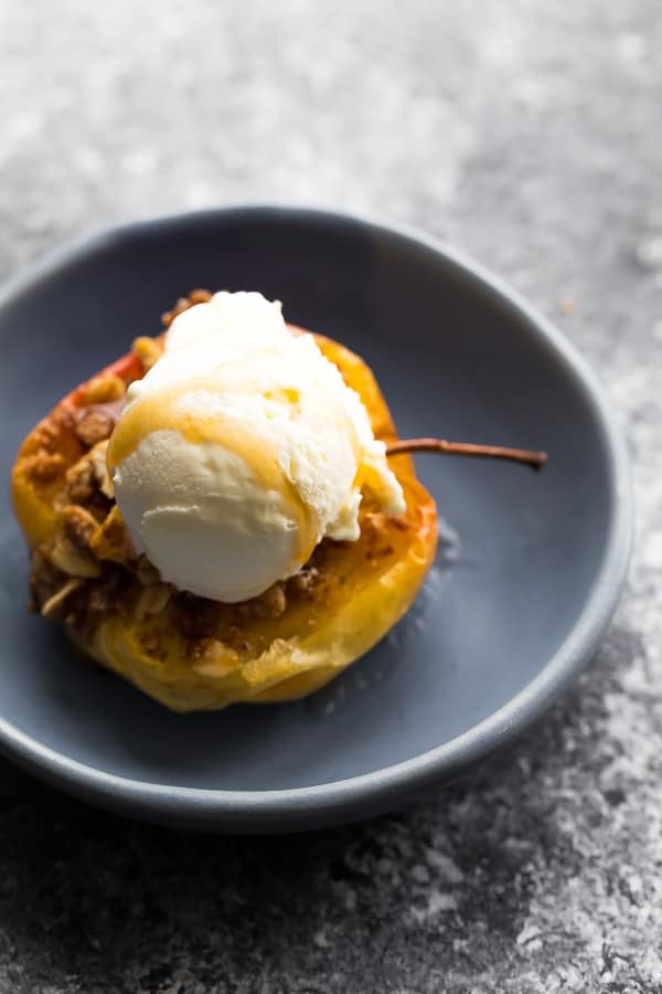 healthy baked apples with scoop of ice cream on top