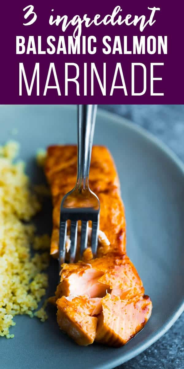 This simple balsamic salmon marinade has just 3 ingredients, and gets dinner on your table in no time. Plus my new favorite method for perfect baked salmon! #salmon #marinade #sweetpeasandsaffron #glutenfree