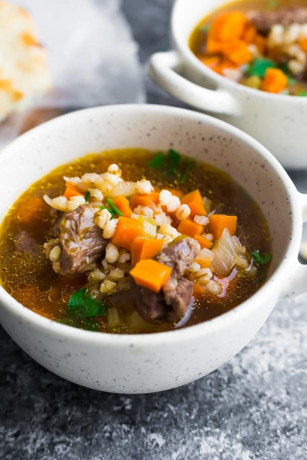 beef barley soup recipe in white bowl