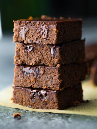stack of four fudgy black bean brownies