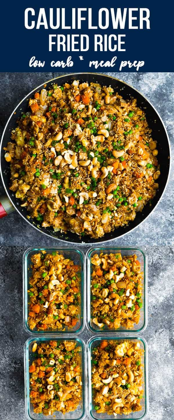 This simple cauliflower fried rice recipe makes a delicious low carb main course or side dish! With fresh ginger and sesame oil, this lighter fried rice option is full of flavor. #sweetpeasandsaffron #mealprep #lowcarb #keto