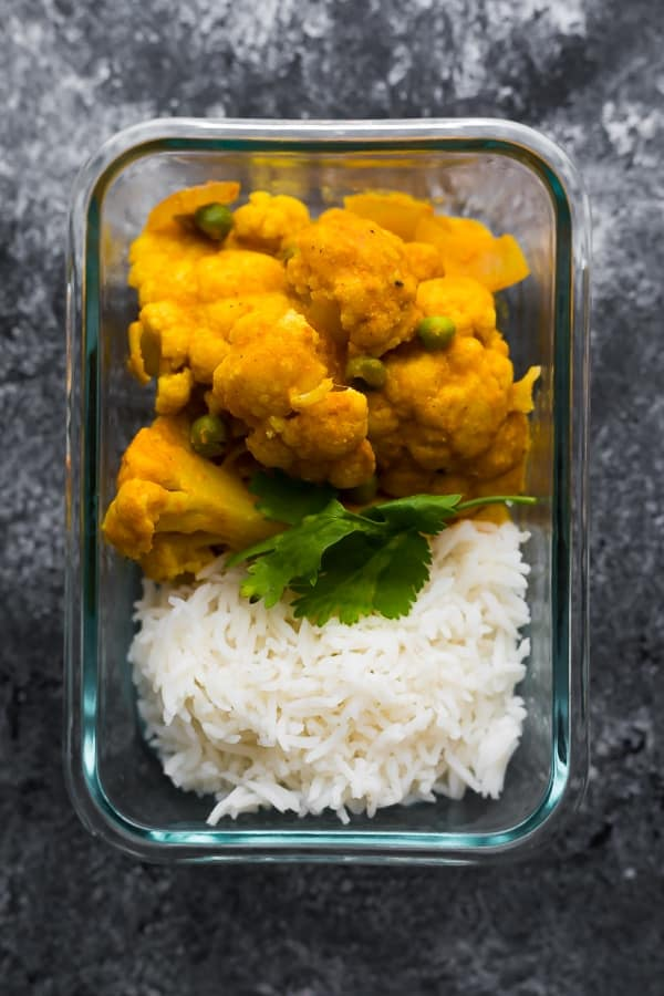 instant pot korma in a meal prep container
