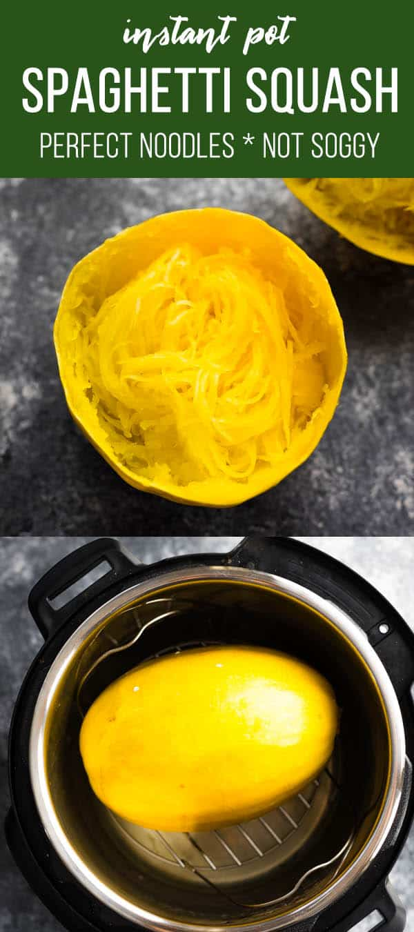 The BEST method for Instant Pot spaghetti squash: cook it whole! No more soggy spaghetti squash, and perfect 'noodles' every time. #sweetpeasandsaffron #mealprep #howto #instantpot #lowcarb