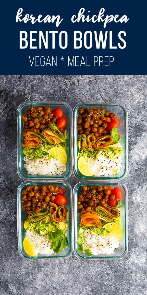 Korean BBQ chickpea bento bowls with zucchini, carrots, brussels sprouts and korean BBQ chickpeas served over rice. Vegan and GF. #sweetpeasandsaffron #mealprep #vegan #glutenfree