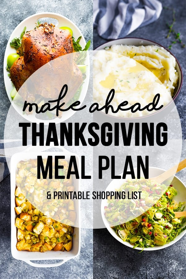 collage image of thanksgiving meals with text overlay make ahead thanksgiving meal plan