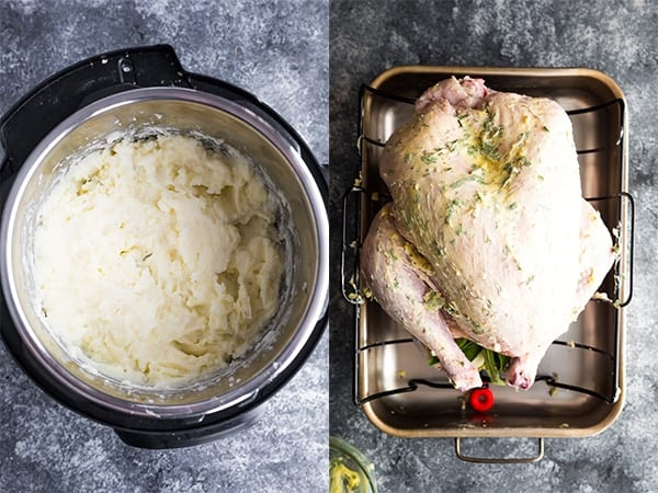 collage image of mashed potatoes in instant pot and a turkey on a large pan before baking