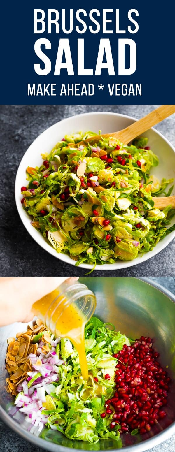 Shaved brussels sprouts salad has toasted almond slices, sweet pomegranate seeds, and a tangy vinaigrette. Perfect for a holiday side dish. Vegan, gluten-free, paleo. #sweetpeasandsaffron #mealprep #salad #thanksgiving #christmas