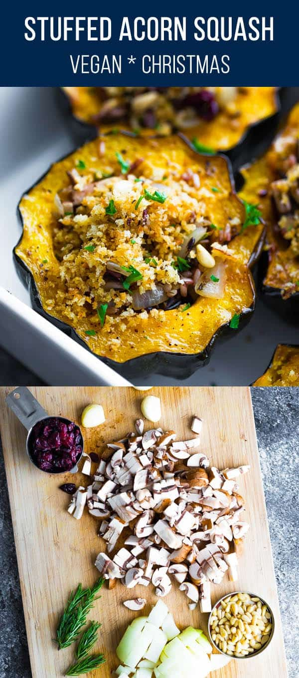 Stuffed acorn squash with mushrooms and cranberries is a delicious vegan option for your Christmas dinner! Serve is as an entree or as a side dish. vegan christmas, vegan thanksgiving #sweetpeasandsaffron #christmas #vegan #thanksgiving