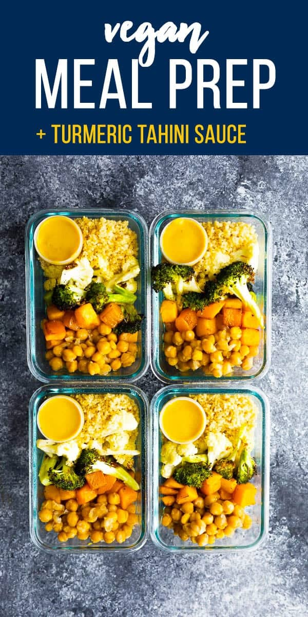 This vegan roasted vegetable meal prep has a tangy turmeric tahini sauce for you to drizzle over everything! #sweetpeasandsaffron #mealprep #vegan #glutenfree