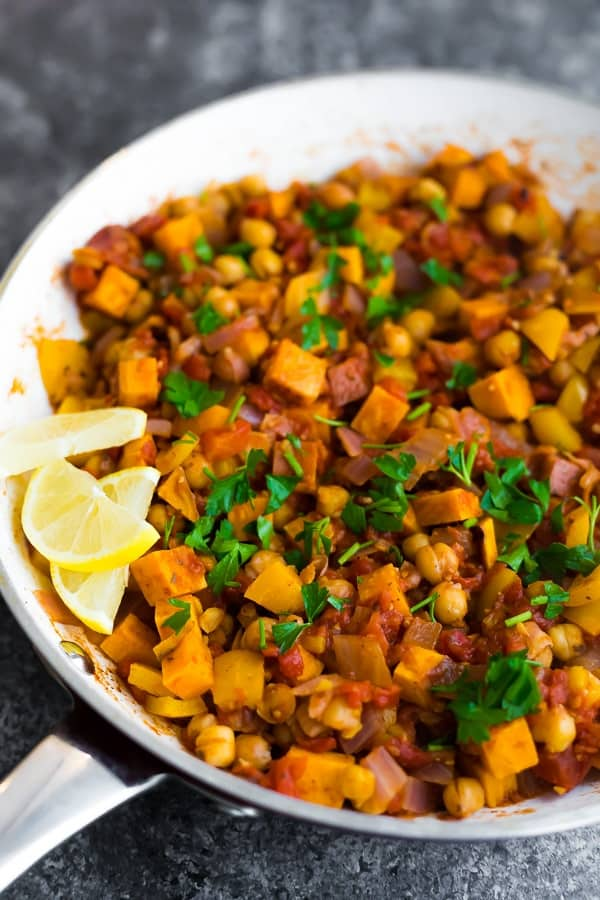 cooked Vegan Moroccan Chickpea Skillet in white pan