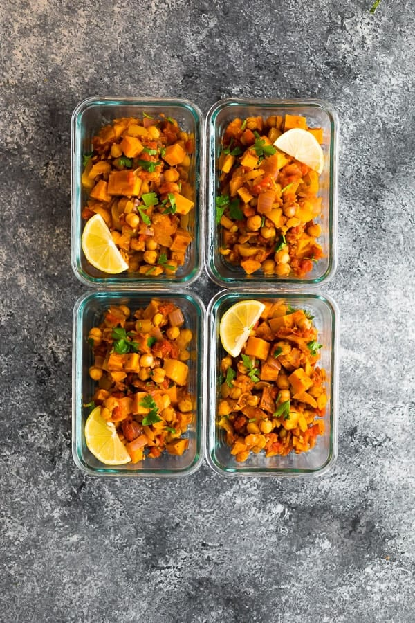 Vegan Moroccan Chickpea Skillet in meal prep containers