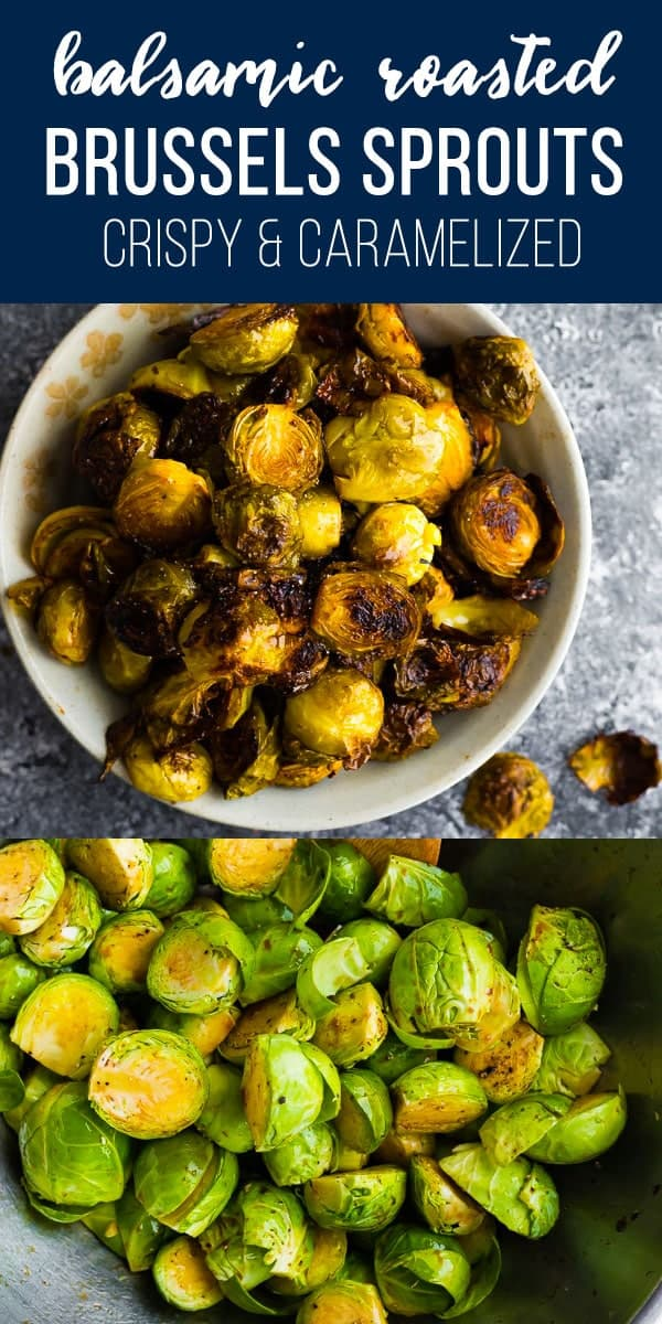 Balsamic roasted brussels sprouts are the TASTIEST way to enjoy brussels sprouts. With crispy peels and toasty, caramlized bits! #sweetpeasandsaffron #brusselssprouts #vegan #glutenfree #lowcarb