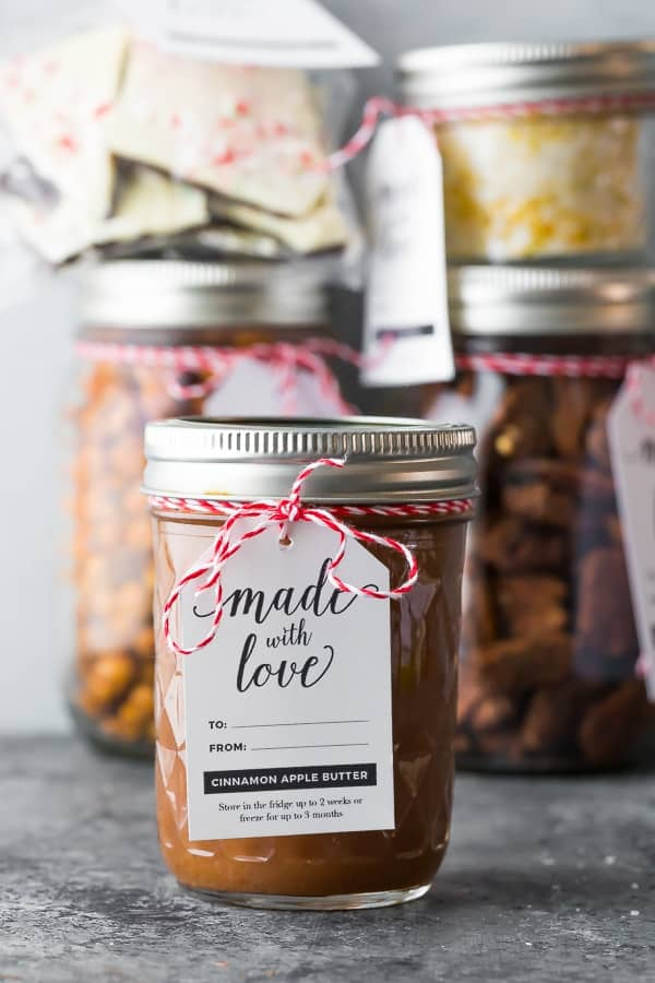 crockpot apple butter packaged as DIY Christmas gifts