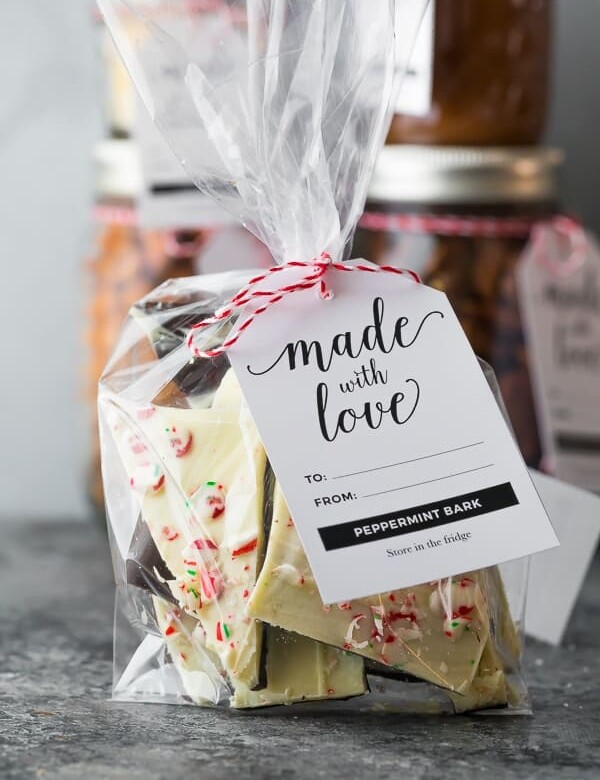 bag filled with classic peppermint bark with tag saying made with love