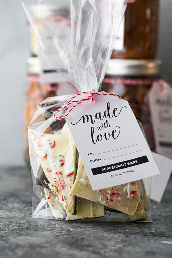 peppermint bark recipe in a gift bag with tag