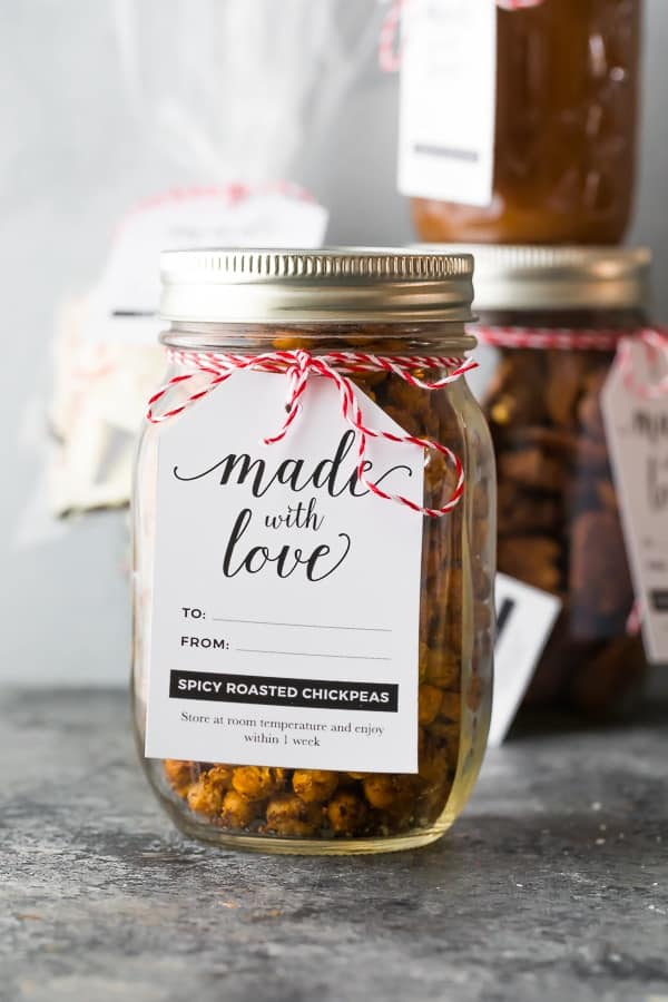 Spicy roasted chickpeas packaged as Christmas food gifts
