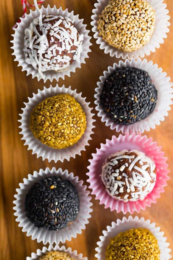date truffles in foils