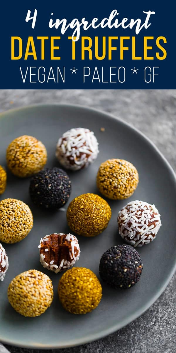 These 4-ingredient date truffles are fast and simple to make, and are vegan, gluten-free and paleo! #sweetpeasandsaffron #dessert #christmas