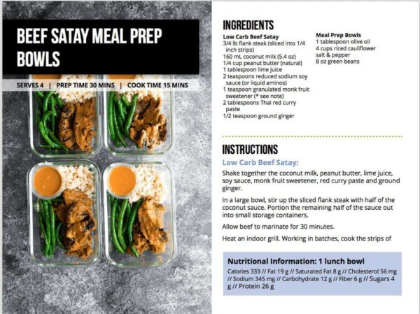 Screenshot from the low carb meal prep ebook
