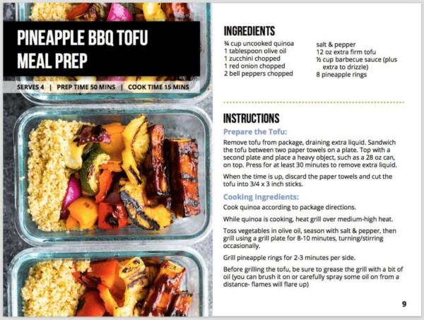 screenshot of the vegan meal prep ebook