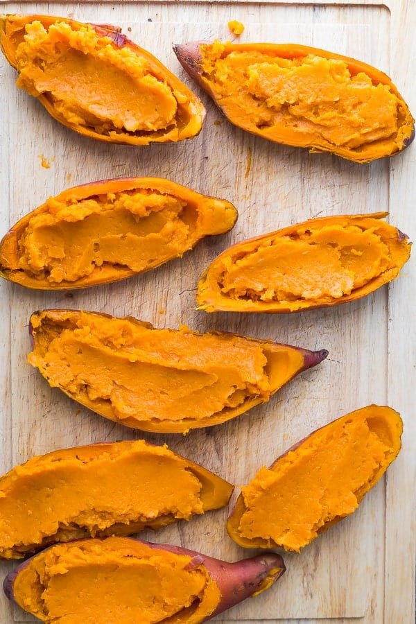 easy sweet potato casserole in sweet potato skins before baking