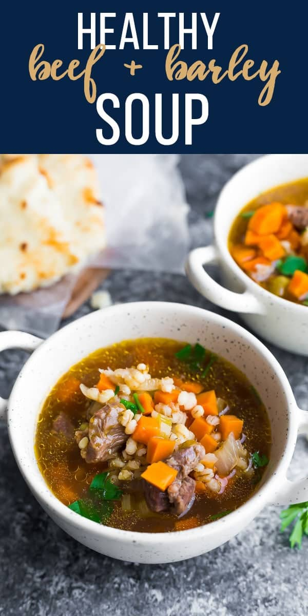 Cozy up with a bowl of healthier beef barley soup. Packed full of flavor and so hearty! Under 200 calories per bowl. #sweetpeasandsaffron #soup #beef