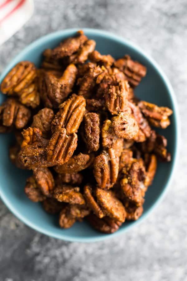 roasted pecans in blue bowl